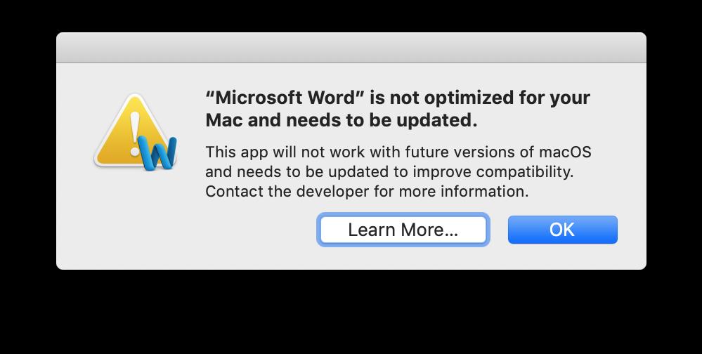 App not optimized dialog box
